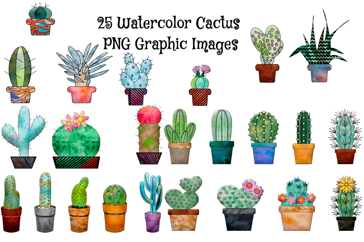 Download Free 25 Watercolor Cactus Files Graphic By Scrapbook Attic Studio for Cricut Explore, Silhouette and other cutting machines.