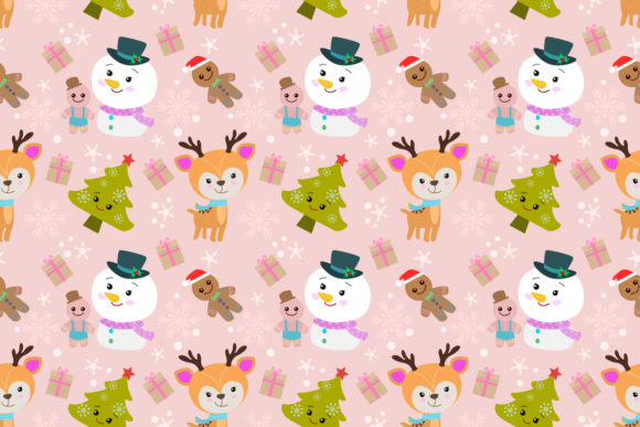 Download Free Deer Snowman And Tree Christmas Pattern Graphic By Ranger262 for Cricut Explore, Silhouette and other cutting machines.