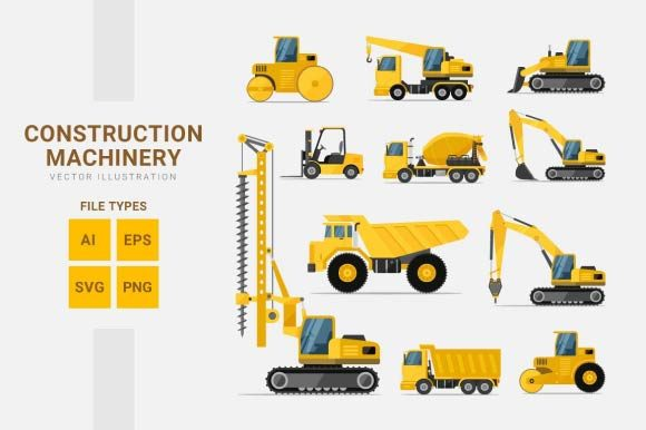 Construction Machinery Graphic Illustrations By Freshcare