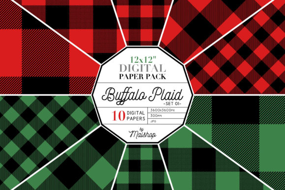Print on Demand: Digital Paper Buffalo Plaid Set 01 Gráfico Moldes Por Maishop