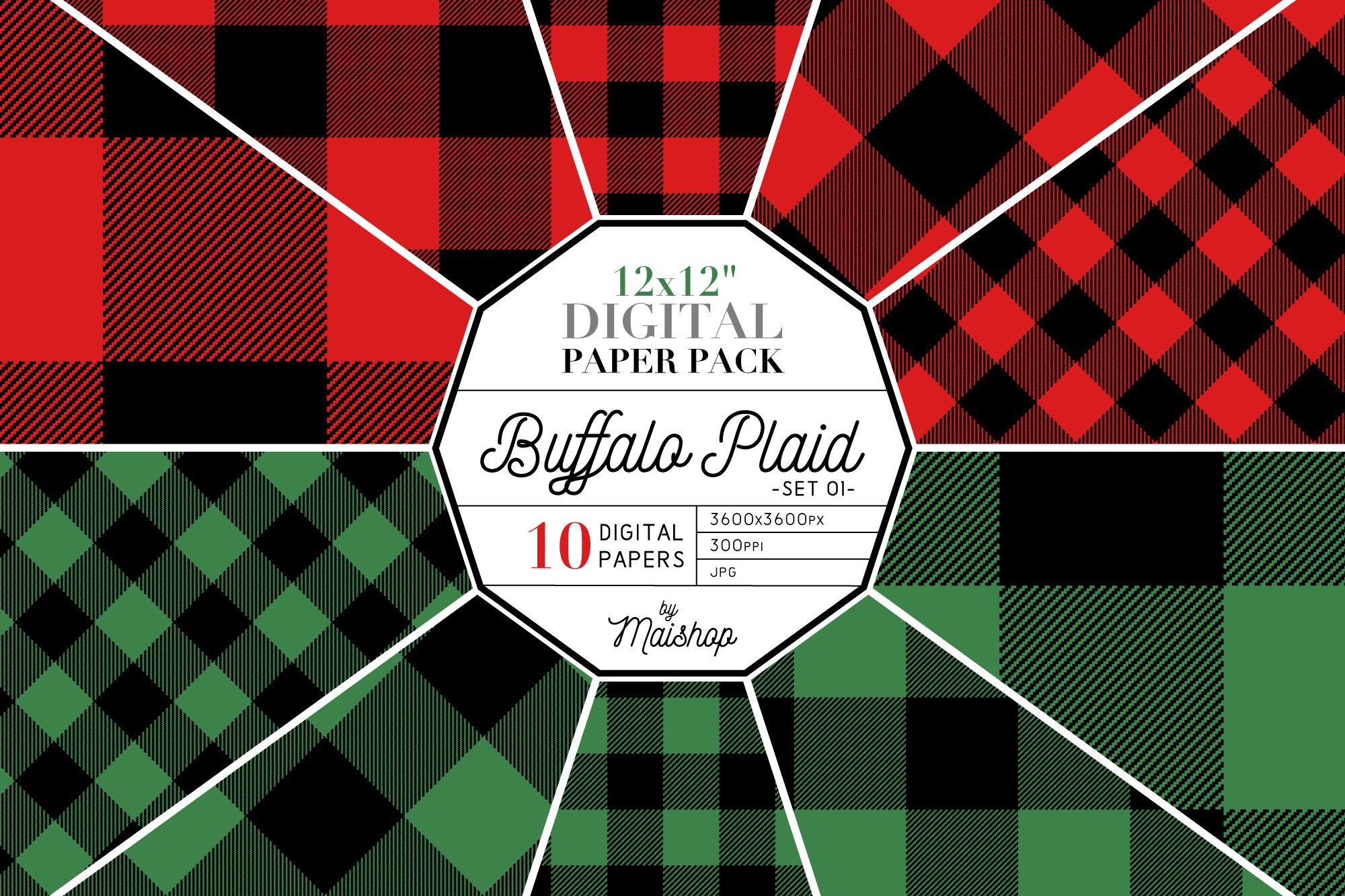 Download Free Digital Paper Buffalo Plaid Set 01 Graphic By Maishop Creative for Cricut Explore, Silhouette and other cutting machines.