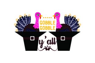 Gobble Gobble Y'all - Turkeys in Pilgrim Hats Thanksgiving Craft Cut File By Creative Fabrica Crafts