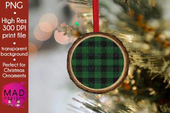 Green Buffalo Plaid - Wood Slice Graphic Crafts By maddesigns718