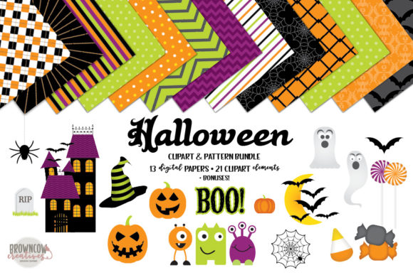 Print on Demand: Halloween Clipart Bundle Graphic Illustrations By browncowcreatives - Image 1