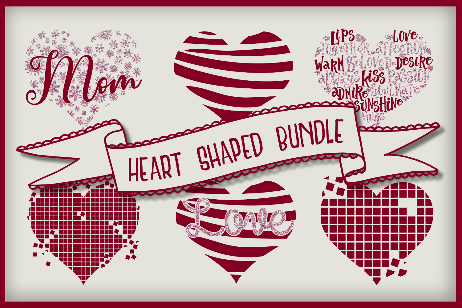 Download Free Heart Shaped Bundle Graphic By Boertiek Creative Fabrica for Cricut Explore, Silhouette and other cutting machines.