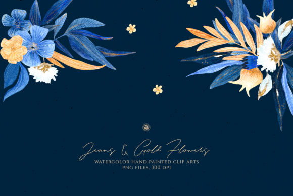 Print on Demand: Jeans & Gold Flowers Graphic Illustrations By webvilla