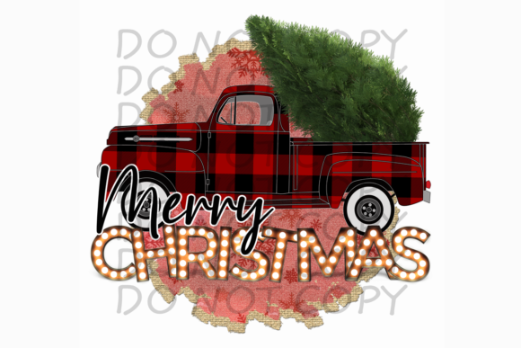 Merry Christmas Red Plaid Truck PNG Graphic Print Templates By rebecca19 - Image 1