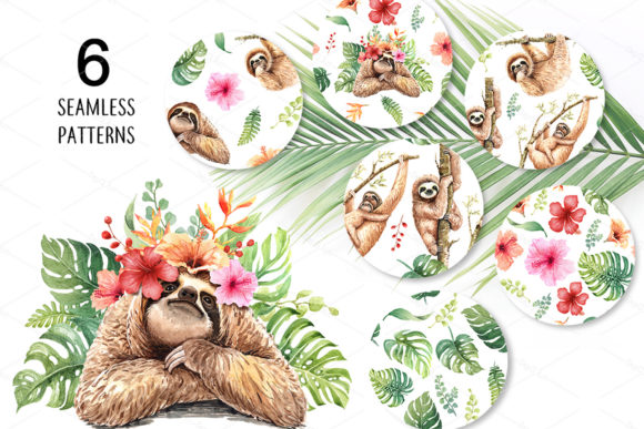 Print on Demand: Sloth. Animals Watercolor Cliparts. Graphic Illustrations By SapG Art - Image 4