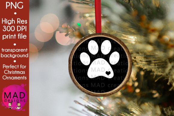 Paw Print - Wood Slice Ornament Graphic Crafts By maddesigns718