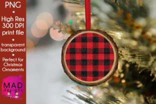 Download Free Red Buffalo Plaid Wood Slice Ornament Graphic By Maddesigns718 for Cricut Explore, Silhouette and other cutting machines.