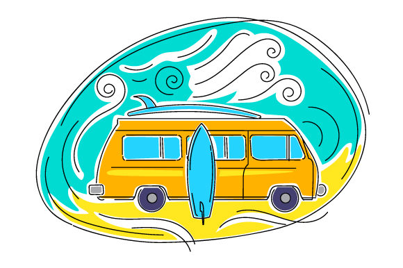 Retro Van with Surfboards in Abstract Art Style Summer Craft Cut File By Creative Fabrica Crafts