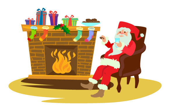 Download Free Santa Sitting By Fireplace Drinking Milk Svg Cut File By for Cricut Explore, Silhouette and other cutting machines.