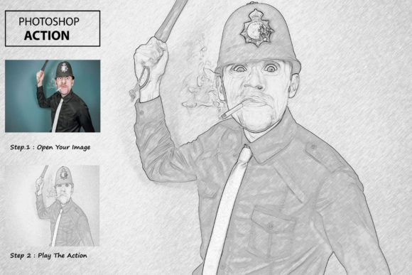 Pencil Drawing 2 - Photoshop Action Graphic Actions & Presets By iTraitArt