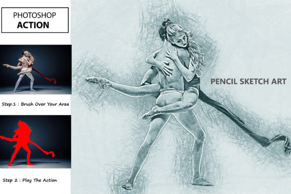 Pencil Sketch - PS Action Graphic Actions & Presets By iTraitArt
