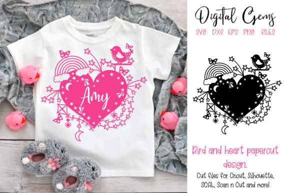 Bird and Heart Papercut Design Graphic Crafts By Digital Gems