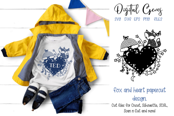 Fox and Heart Papercut Design Graphic Crafts By Digital Gems