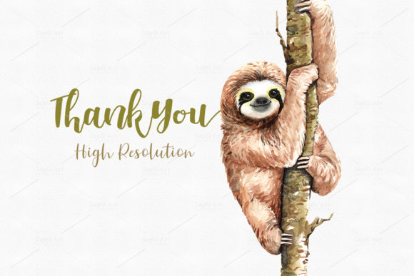 Print on Demand: Sloth. Animals Watercolor Clip Art Graphic Illustrations By SapG Art - Image 3