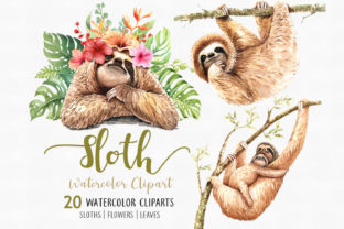 Sloth. Animals Watercolor Clip Art Graphic By SapG Art