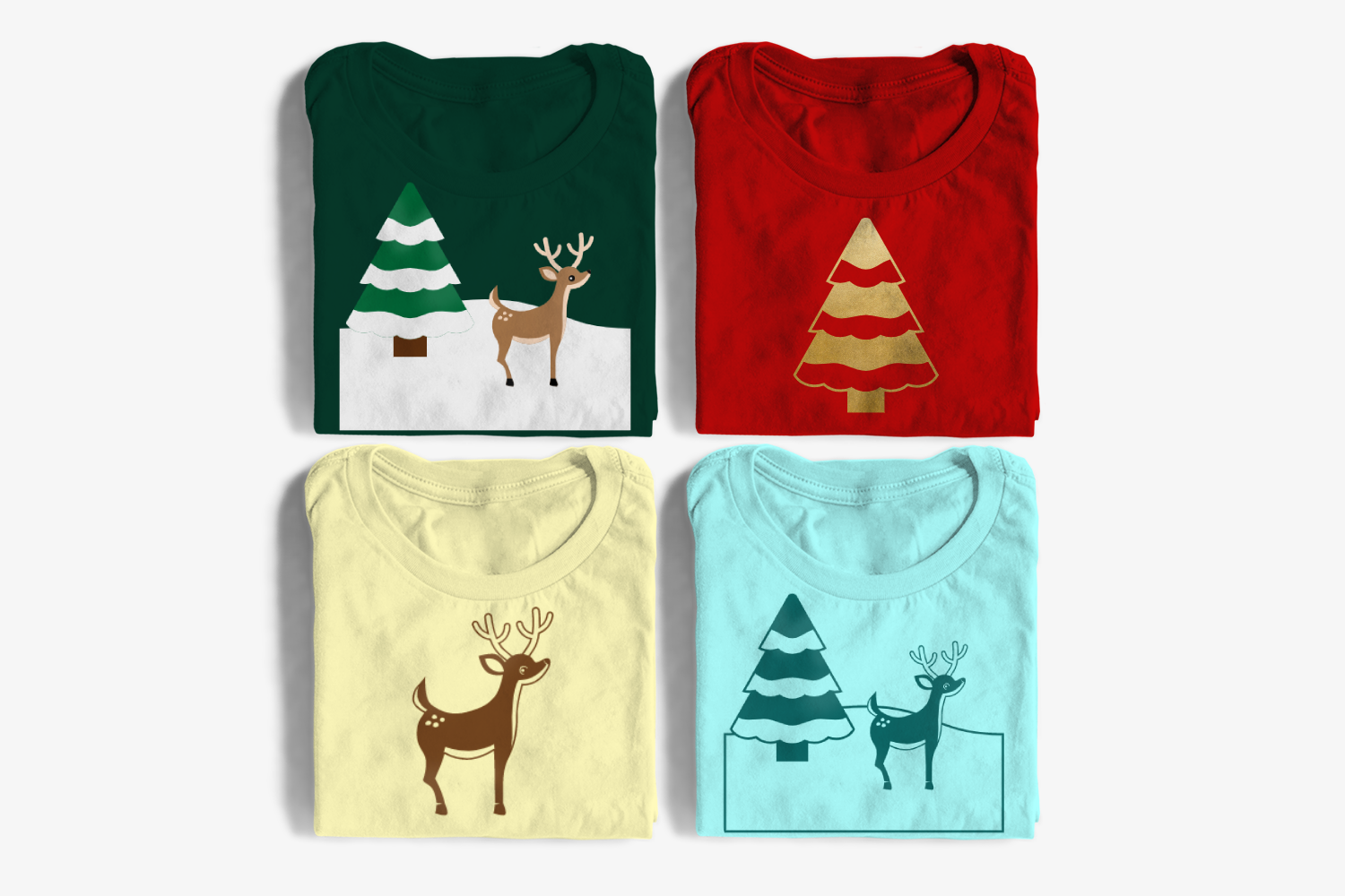 Download Free Christmas Deer With Snowy Tree Graphic By Designedbygeeks for Cricut Explore, Silhouette and other cutting machines.