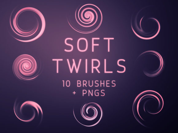 Print on Demand: Soft Twirls Photoshop Brushes and PNGs Graphic Brushes By OA Design