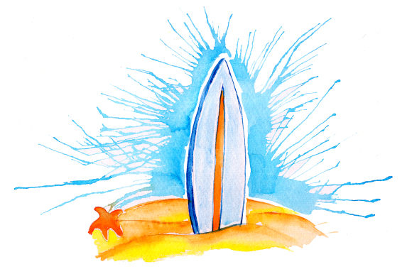 Surfboard in Sand in Paint Splatter Watercolor Style Summer Craft Cut File By Creative Fabrica Crafts