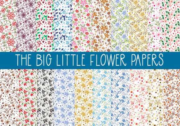 Download Free The Big Little Flowers Papers Graphic By Capeairforce Creative for Cricut Explore, Silhouette and other cutting machines.