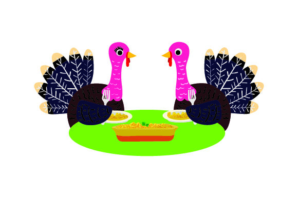 Turkeys Eating at a Table Thanksgiving Craft Cut File By Creative Fabrica Crafts