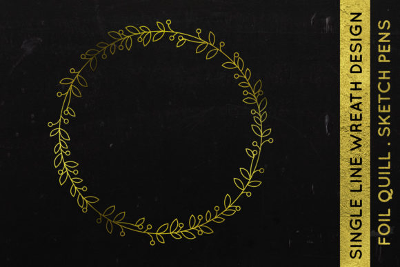 Download Free Wreath Design Foil Quill Single Line Graphic By Illuztrate for Cricut Explore, Silhouette and other cutting machines.