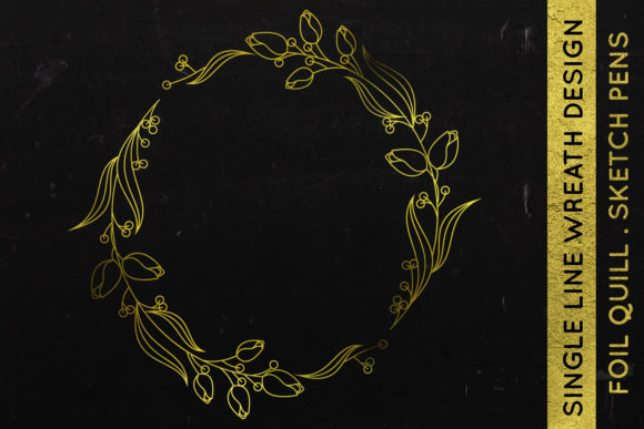 Print on Demand: Wreath Design - Foil Quill - Single Line Graphic Crafts By illuztrate - Image 1