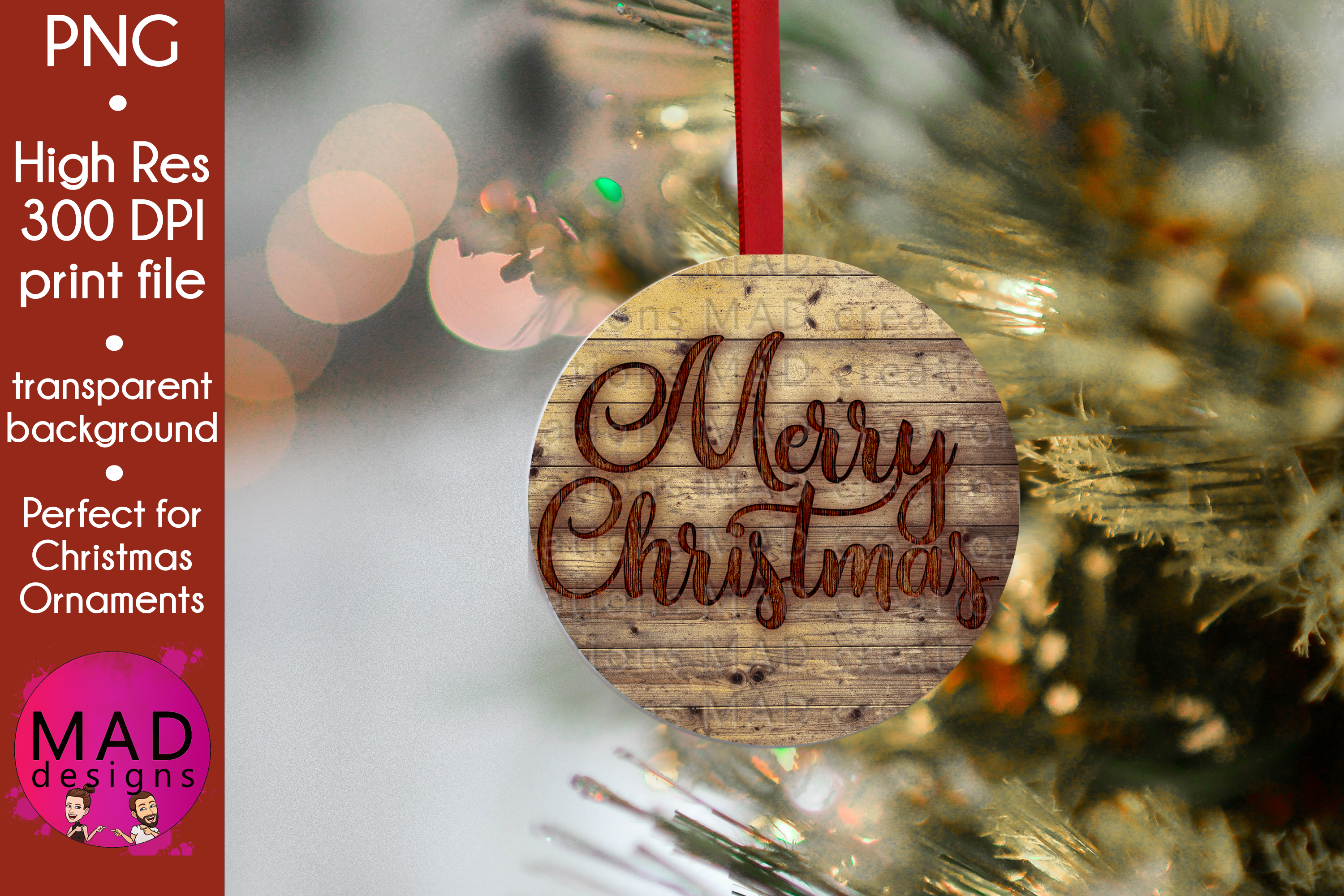 Download Free Merry Christmas Wood Slice Ornament Graphic By Maddesigns718 for Cricut Explore, Silhouette and other cutting machines.