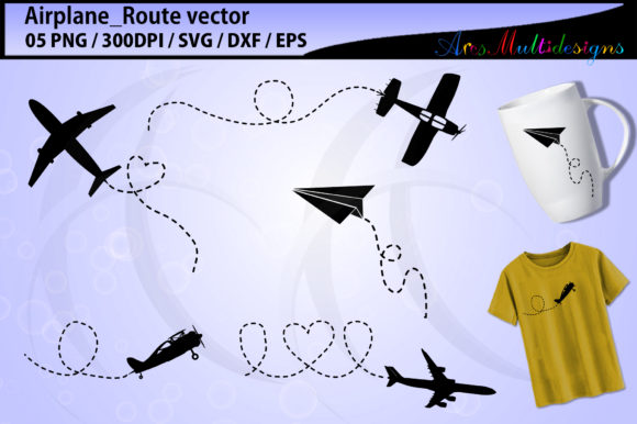Print on Demand: Airplane SVG / Airplane Route Svg Graphic Illustrations By Arcs Multidesigns - Image 1
