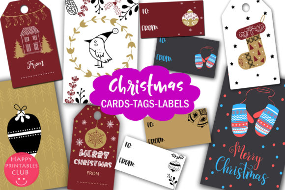 Print on Demand: Christmas Cards-Gift Tags-Labels/Holiday Graphic Graphic Templates By Happy Printables Club