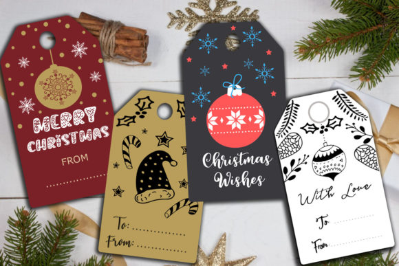 Download Free Christmas Cards Gift Tags Labels Holiday Graphic By Happy for Cricut Explore, Silhouette and other cutting machines.