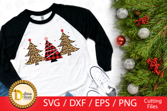 Print on Demand: Christmas Trees Svg, Red Plaid, Tiger Graphic Crafts By dina.store4art - Image 1