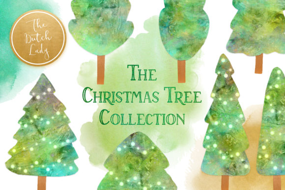 Print on Demand: Christmas Tree Collection Clipart Set Graphic Illustrations By daphnepopuliers