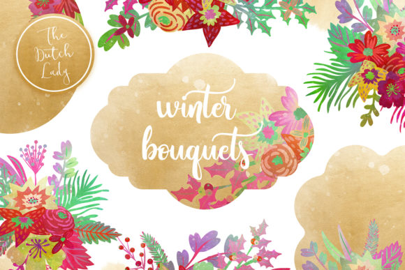 Print on Demand: Winter Bouquet & Label Clipart Set Graphic Illustrations By daphnepopuliers