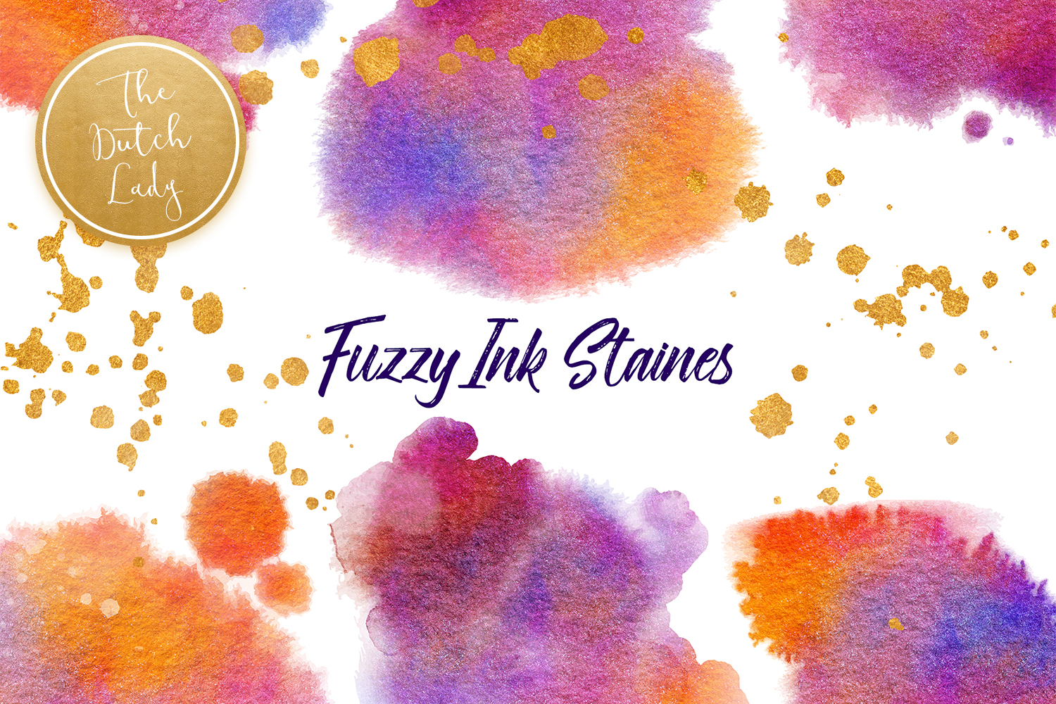 Fuzzy Ink Stain Clipart Set SVG File
