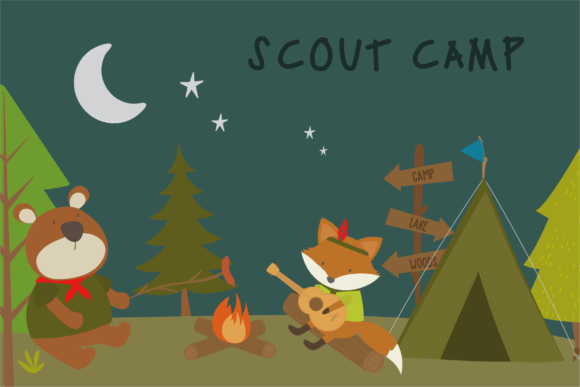 Print on Demand: Scout Camp Graphic Illustrations By poppymoondesign - Image 1