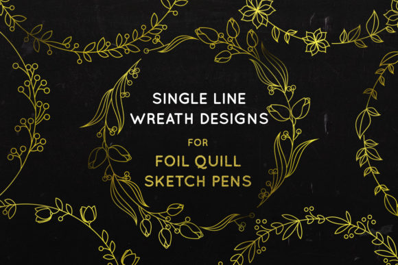 Print on Demand: Wreath Bundle- Foil Quill - Single Line Graphic Crafts By illuztrate - Image 1