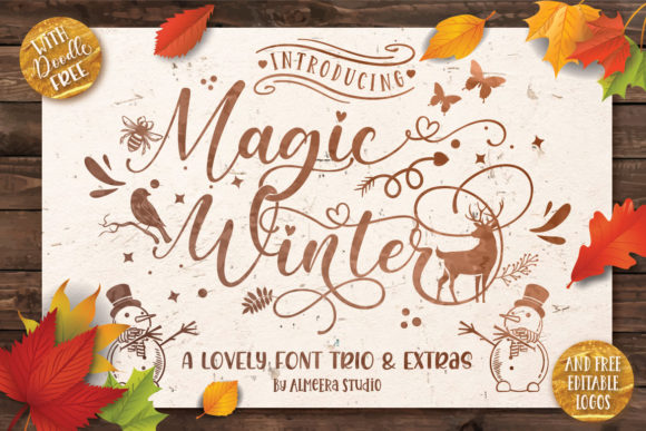 Print on Demand: Magic Winter Trio Manuscrita Fuente Por Almeera Studio
