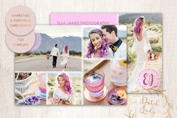Print on Demand: PSD Photo Portfolio Card Template #6 Graphic Print Templates By daphnepopuliers