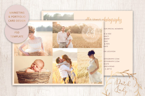 Print on Demand: PSD Photo Portfolio Card Template #3 Graphic Print Templates By daphnepopuliers