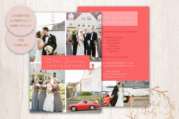 Print on Demand: PSD Photo Portfolio Card Template #5 Graphic Print Templates By daphnepopuliers