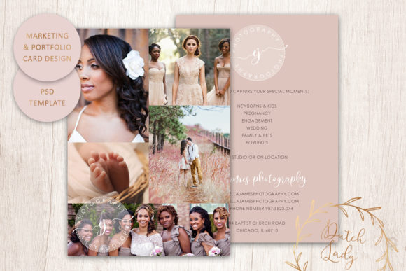 Print on Demand: PSD Photo Portfolio Card Template #1 Graphic Print Templates By daphnepopuliers