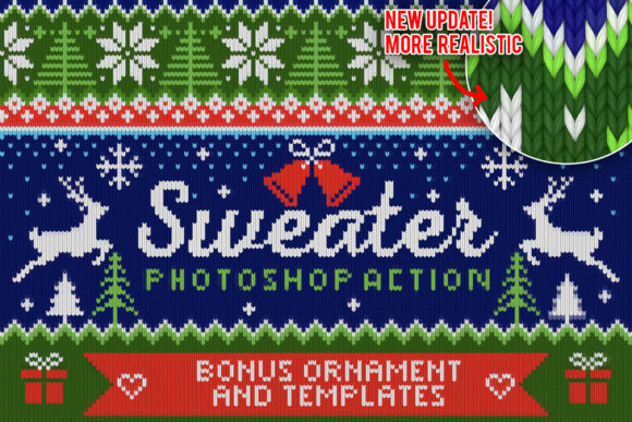 Print on Demand: Knitted Effect Ugly Christmas Sweater Graphic Actions & Presets By svgsupply