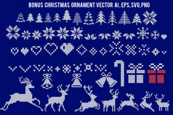 Print on Demand: Knitted Effect Ugly Christmas Sweater Graphic Actions & Presets By svgsupply - Image 6