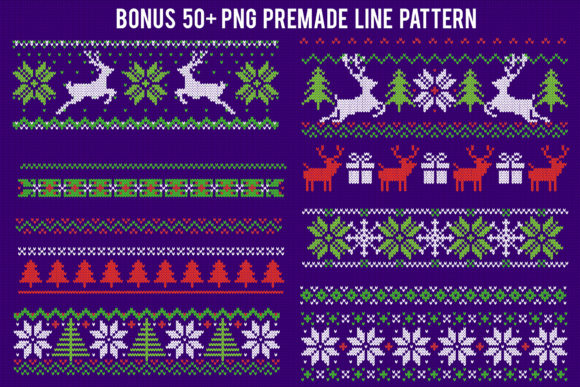 Print on Demand: Knitted Effect Ugly Christmas Sweater Graphic Actions & Presets By svgsupply - Image 7