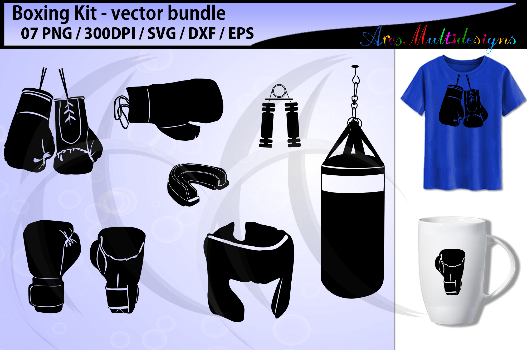 Download Free Boxing Kit Boxing Gloves Graphic By Arcs Multidesigns for Cricut Explore, Silhouette and other cutting machines.