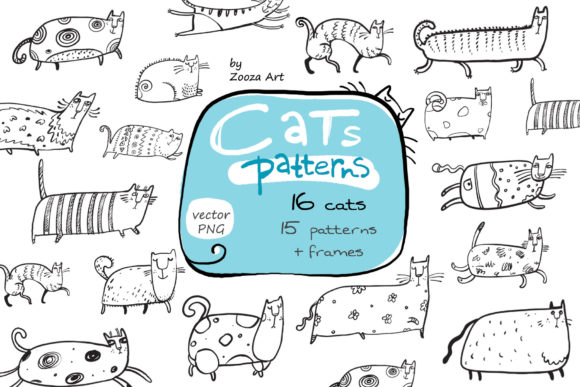 Print on Demand: Cats Patterns and Frames Graphic Patterns By Zooza Art