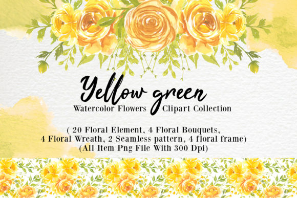 Print on Demand: Yellow Flower Watercolor Clipart Graphic Backgrounds By OrchidArt